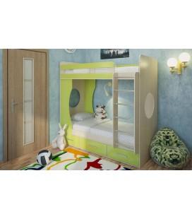 двухъярусная кровать Милана-1 дуб молочный / лайм