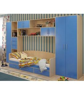 детская стенка Милана комплект №5 корпус дуб молочный фасад синий